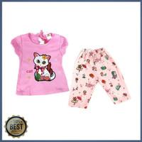 Setelan baju anak perempuan led lampu 1-2 tahun (SR.179) motif kucing