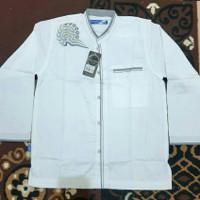 Baju Koko Putih Remaja/Anak Tanggung Lengan Panjang,Bordir 15 Syahdika