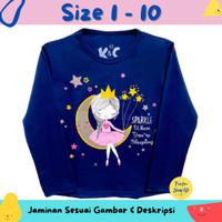 Baju Anak Perempuan / Kaos Lengan Panjang Motif Sparkle Moon Girl 1-10