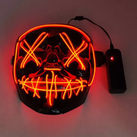 Led Mask The Purge Topeng LED Pesta Rave Party Wire Glow In The Dark - Biru