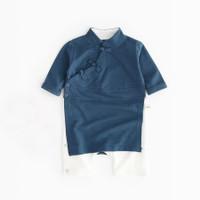 baju imlek anak laki laki cheongsam biru