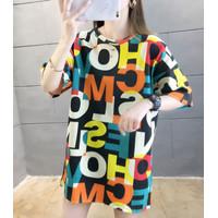 Kaos Panjang Adem Alphabet Abstrak xxl Cotton Oversized Tee