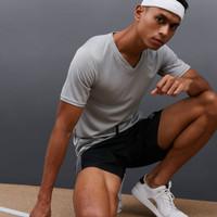 DONSON Sport Kaos Polos TShirt Olahraga Comfort Kerah V Grey