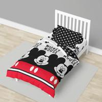 Sprei California Single Fitted 100x200cm Black & White Mickey Mouse