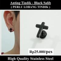 Anting Tindik Cowok Pria - Black Salib