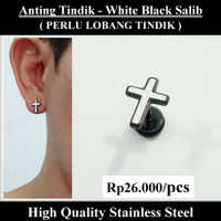 Anting Tindik Cowok Pria - White Black Salib