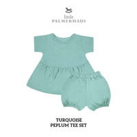 LITTLE PALMERHAUS PEPLUM TEE SET (Turquoise)