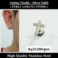 Anting Tindik Cowok Pria - Silver Salib