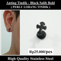 Anting Tindik Cowok Pria - Black Salib Bold