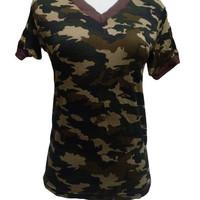 Kaos Army Vneck Lengan Pendek Premium Termurah / Pakaian Baju Wanita