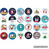 (24pcs) Sticker xmas assorted 3cm / tempelan natal christmas kado