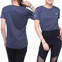 Baju Olahraga Wanita Kaos Lengan Pendek Cewek Sports Gym Fitness Senam