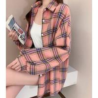 Kemeja Kotak Pastel Cute Korea Style Atasan Baju Sweater kaos 2015295