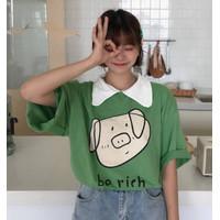Kemeja Kerah T Shirt Kaos Import Motif Pig Cute Be Rich XXL