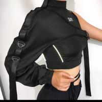 Harajuk 1 shoulder gothic street fashion design / baju / cropped shirt