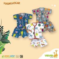 VELVET Setelan Pendek Kancing Depan Ukuran S/M/L | Baju Bayi