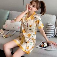 baju tidur satin wanita motif import / piyama wanita satin duck
