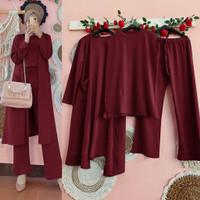 Prita Set Setelan 3 in 1 Baju Muslim Polos 3in1 Fashion Wanita