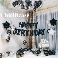 Set paket balon hbd ultah birthday black silver white fancy elegant - happybday Black