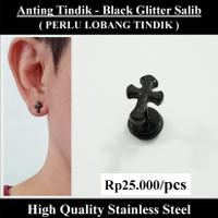 Anting Tindik Cowok Pria - Black Glitter Salib