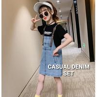 MILANBERRY CASUAL DENIM SET baju setelan jeans anak perempuan korea - Size 120