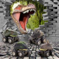 Mainan Mobil Mobilan Dinosaurus Diecast Anak 4 PCS - Multi Warna
