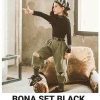 MILANBERRY BONA SET BLACK baju setelan anak perempuan casual hi hop - Size 110