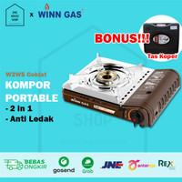 Kompor Portable Anti Ledak 2 in 1 Winn Gas W2WS Double Safety Device