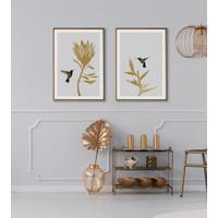 Lukisan Dinding HummingBird Flower-Frame Stainless Gold-matte-40x60