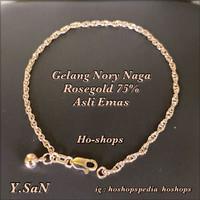 Gelang Simple Nory Naga Double Rosegold Kadar 75% Asli Emas