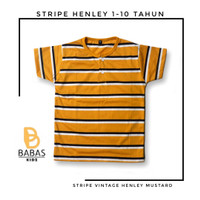 KAOS ANAK HENLEY STRIPE KANCING 1-10 TAHUN/ BAJU ANAK LAKI PEREMPUAN - XS