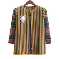 blouse batik tenun mix lurik atasan baju batik kantor resleting gold