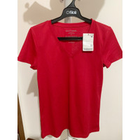 Giordano Tee Shirt Woman V Neck Red Size M New Sale