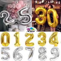 Balon foil huruf / balon foil angka besar 80cm (pink biru silver gold)