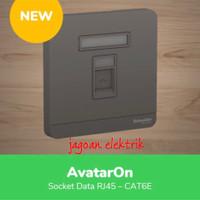 Data Socket RJ45 Cat6 Avatar On Dark Grey Schneider E8331RJS6_DG