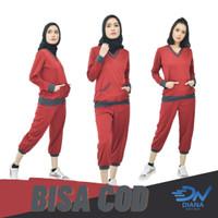 Setelan olahrga senam wanita muslimah baju senam jumbo dan celana - Merah, L
