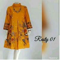 Baju Tunik Dress Batik Wanita Motif Rasty LD 105-120 Matt Katun Primis
