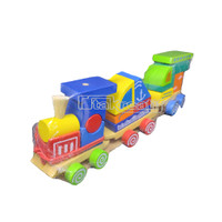 Mainan Kayu Edukatif Kayu Balok Kereta Tiga Bentuk
