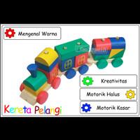 Mainan Edukasi Anak Balok Kayu Kereta Api Kayu Pelangi