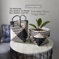 Tas Anyaman Plastik / Cover Pot / Tas Kerajinan / Basket Plastik E05