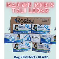 MASKER 3 PLY 50 PCS MEDIS - TALI LEBAR - ROSBY