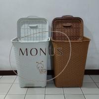 (GOJEK/GRAB) Keranjang Baju Laundry Basket Plastik Club Motif Rattan