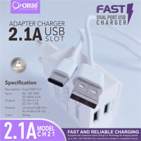 CHARGER ADAPTOR USB SLOT QUICK CHARGER MODEL CH21 2.1A OR-88 TYPE-C