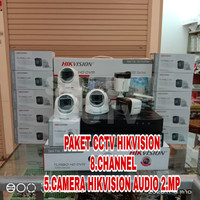 PAKET CCTV HIKVISION 8 CHANNEL 5 CAMERA AUDIO HIKVISION 2 MP + HDD 1TB