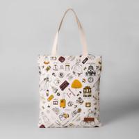 Pamole - Tote Bag Bahan Kanvas Penutup Resleting Full Furing