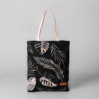 Pamole - Tote Bag Kekinian Bahan Kanvas Motif Tropical Hitam