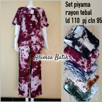 Set Piyama Shibori Rayon Handmade SetCel Nyaman Adem Dipakai Harian