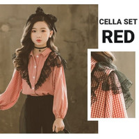 MILANBERRY CELLA SET baju anak perempuan pesta gaun setelan korea red