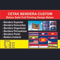 Bikin/cetak bendera custom (Full Printing) Bahan Satin
