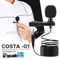 Microphone COSTA -01 Clip On 3.5mm TRRS for Smartphone,PC Plug n Play